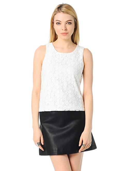 Vero Moda Dantelli Bluz Beyaz